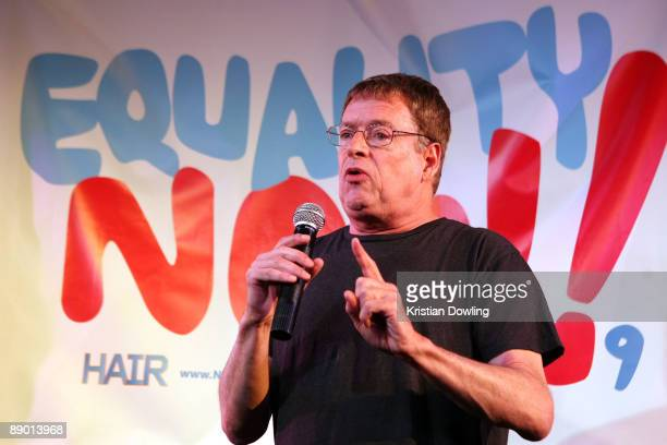 Human Rights activist Cleve Jones speaks during the Broadway cast of 'Hair' BeIn news conference to promote marriage equality on July 13 2009 in Los...