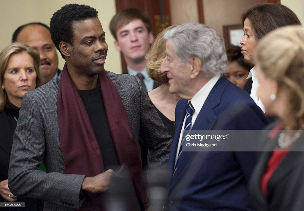 Human rights activist Kerry Kennedy; comedian Chris Rock; and singer Tony Bennett arrive to speak at a press conference at the U.S. Capitol to call on Congress to act on President Obama's plan to reduce gun violence, including background checks for all gun sales and an assault weapons ban.
