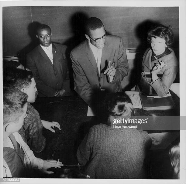 Human rights activist Malcolm X talking to a group of students at Queens College New York City May 1960