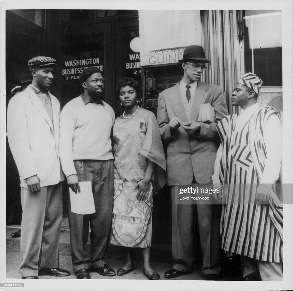 Human rights activist Malcolm X talking to Nigerian students and African American locals in Harlem New York circa 19601965