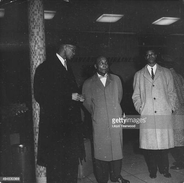 Human rights activist Malcolm X with political leaders Elijah Muhammad and Louis Farrakhan circa 19501965