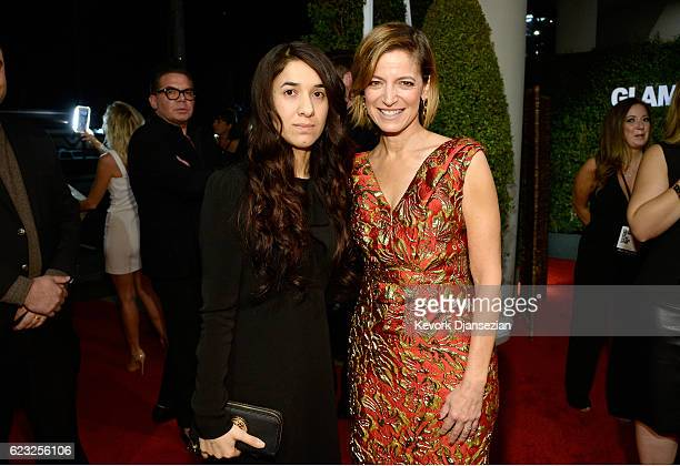 Human rights activist Nadia Murad left and Glamour EditorinChief Cindi Leive attend Glamour Women Of The Year 2016 at NeueHouse Hollywood on November...