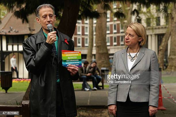 Human rights activist Peter Tatchell delivers remarks during a rally with Green Party leader Natalie Bennett in Soho Square Garden on May 1 2015 in...