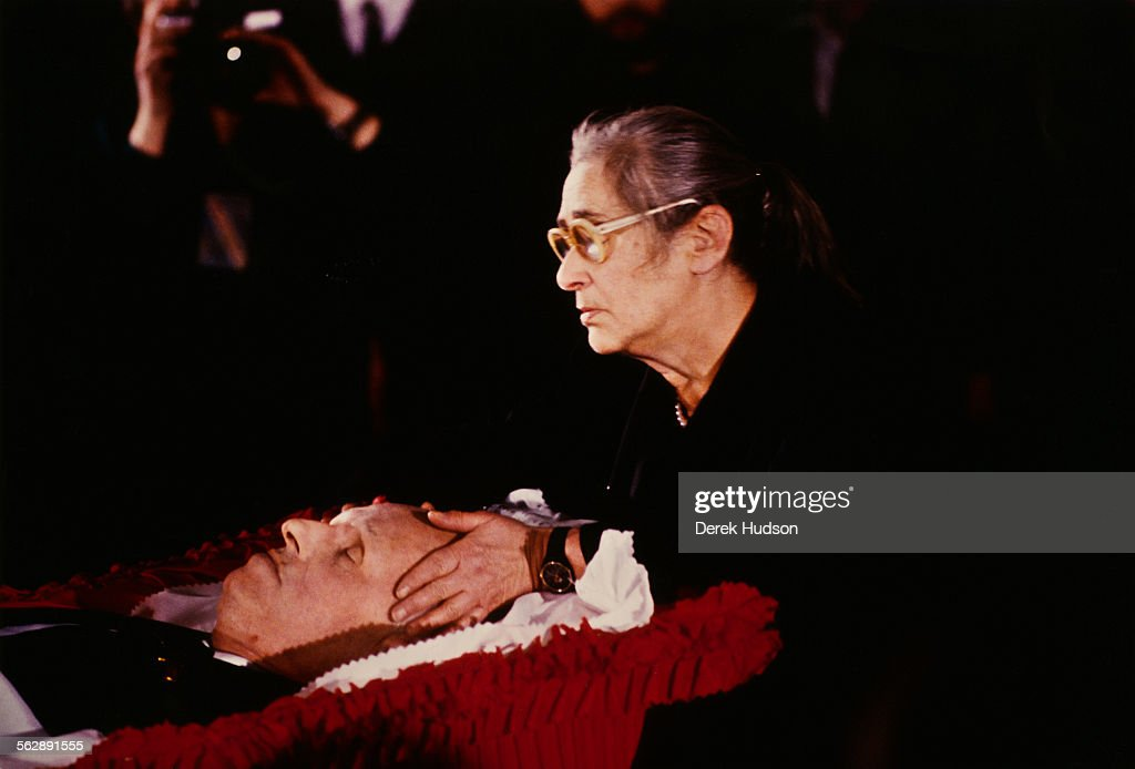 Human rights activist Yelena Bonner at the coffin of her husband Russian nuclear physicist Soviet dissident and human rights activist Andrei Sakharov...