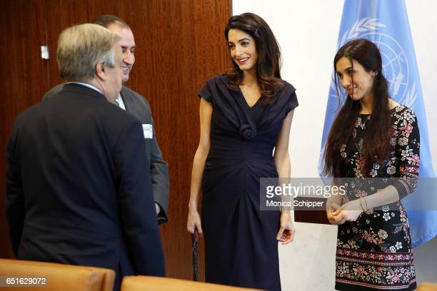 Human rights attorney Amal Clooney and human rights activist Nadia Murad visit the SecretaryGeneral Of The United Nations Antonio Guterres at United...