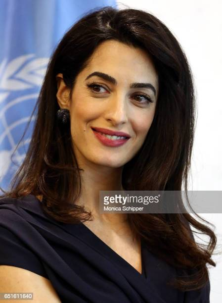 Human rights attorney Amal Clooney visits the SecretaryGeneral Of The United Nations Antonio Guterres at United Nations Headquarters on March 10 2017...