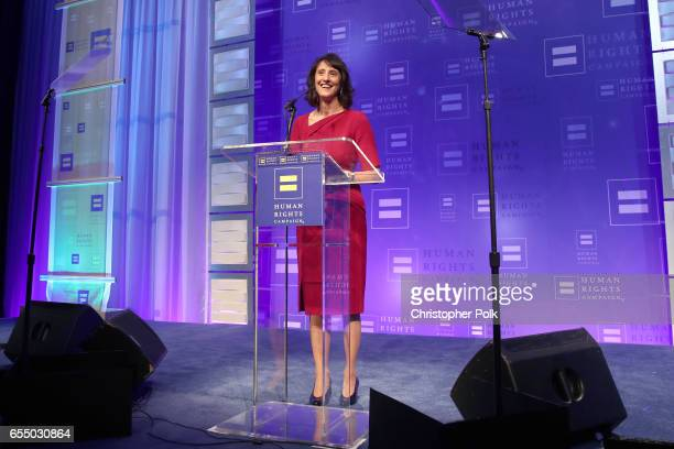 Human Rights Campaign board member Gwen Baba speaks onstage at The Human Rights Campaign 2017 Los Angeles Gala Dinner at JW Marriott Los Angeles at...