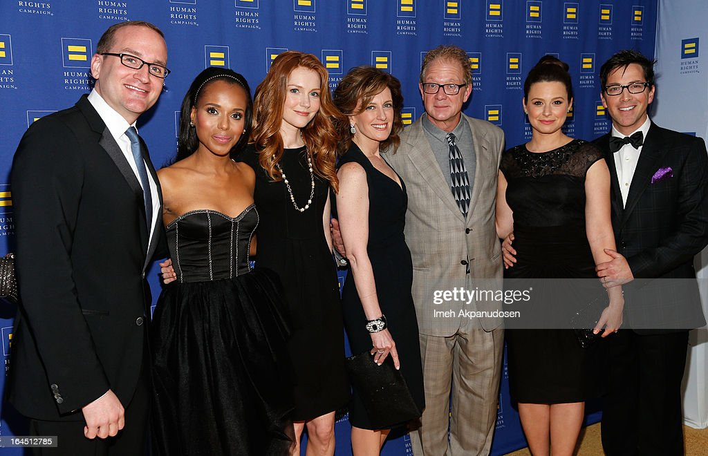 Human Rights Campaign President Chad Griffin, actress Kerry Washington, actress Darby, President of Disney-ABC Television Group Anne Sweeney, actor Jeff Perry, actress Katie Lowes, and actor/producer Dan Bucatinsky attend the 2013 Human Rights Campaign Los Angeles Gala at JW Marriott Los Angeles at L.A. LIVE on March 23, 2013 in Los Angeles, California.