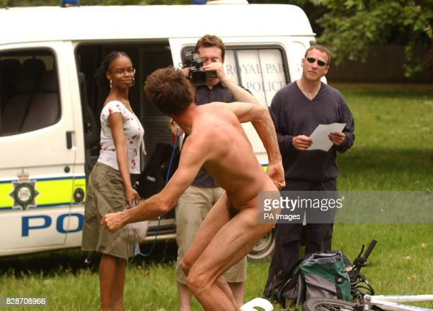 Human rights campaigner Steve Gough from Southampton who stripped off in front of the media at Hyde Park London Police thwarted nudists plans for a...