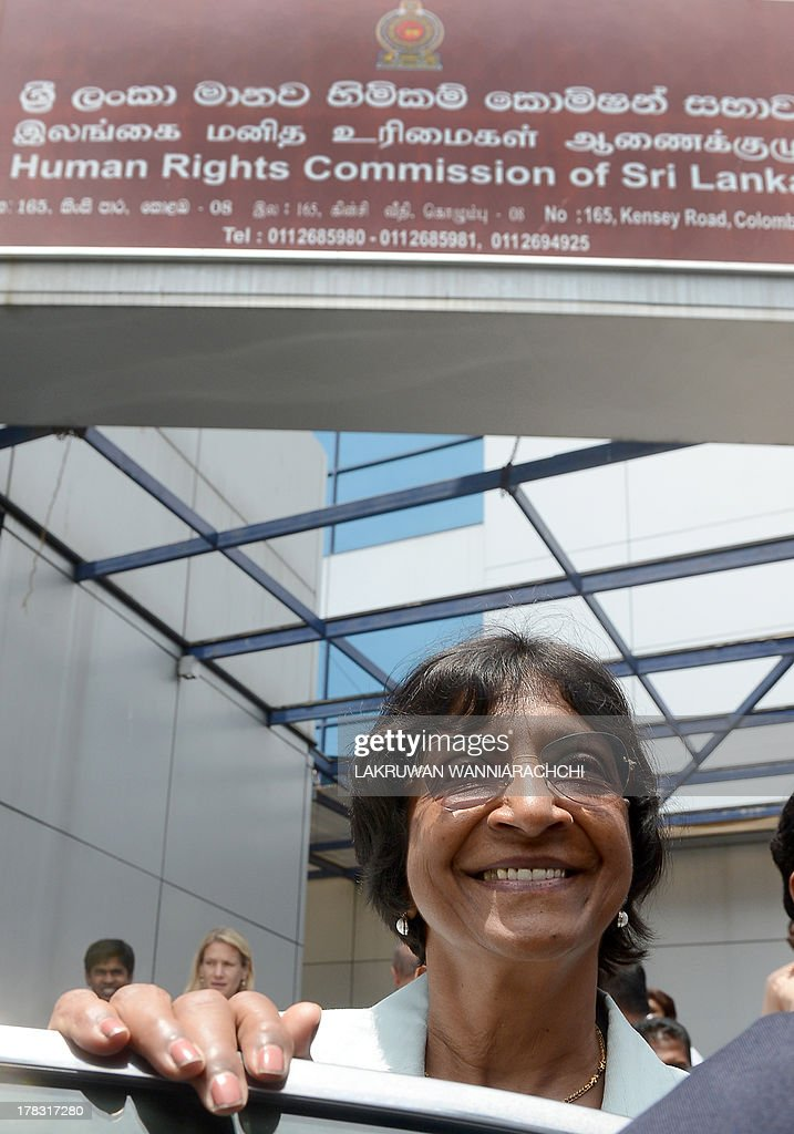 UN human rights chief Navi Pillay gets into a vehicle outside the Sri Lanka Human Rights Commission in Colombo on August 29, 2013. Pillay is on a week-long fact-finding mission to Sri Lanka after the government dropped public hostility towards her and promised access to former war zones.