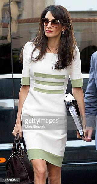 Human rights lawyer Amal Alamuddin Clooney entering the Greek Minister of Culture on October 14 2014 in Athens Greece Human rights lawyer Amal...