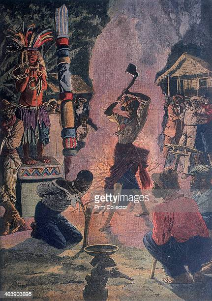 Human sacrifice Lafayette Louisiana USA 1912 Decapitation of a victim tied to a stake in front of the image of a Voodoo god during a Voodoo ceremony...