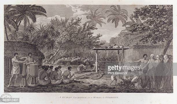 Human sacrifice on Tahiti in the South Pacific c1773 Captain Cook and his officers watching a group of Tahitians chanting as a man and some pigs are...