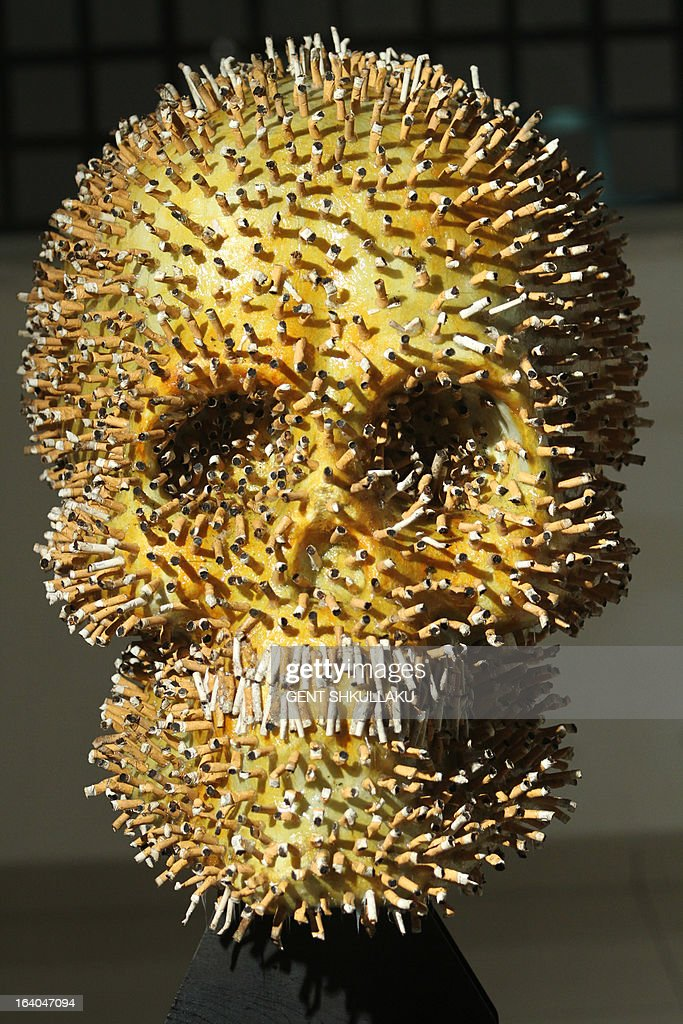 A human skull made of cigarette butts by Albanian artists Lumturi Blloshmi is displayed as a warning at the entrance of a health clinic in Tirana on March 19, 2013. Inspite of a smoking ban in public places voted in 2007 the law is widely ignored and cigarette butts are the most common litter in many Albanian streets. AFP PHOTO / GENT SHKULLAKU