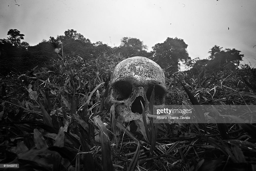 A human skull, which a group of anti-guerrilla police were using to play soccer with inside a village.