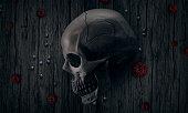halloween, skull, flowers, dark background
