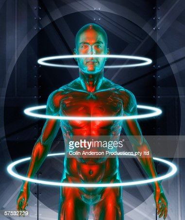 Human statue surrounded by bright rings : Stock Photo