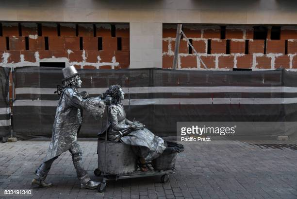 Human statues pictured during the XVI International Human Statues Contest in Leganés Madrid