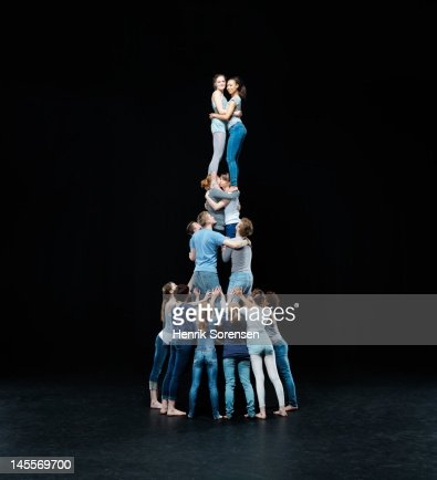 Human tower : Stock Photo