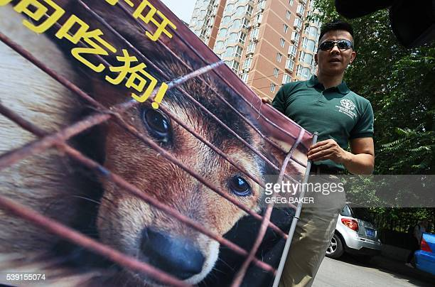 Humane Society International activist Peter Li holds a protest banner near the Yulin government office in Beijing on June 10 2016 A group of Chinese...