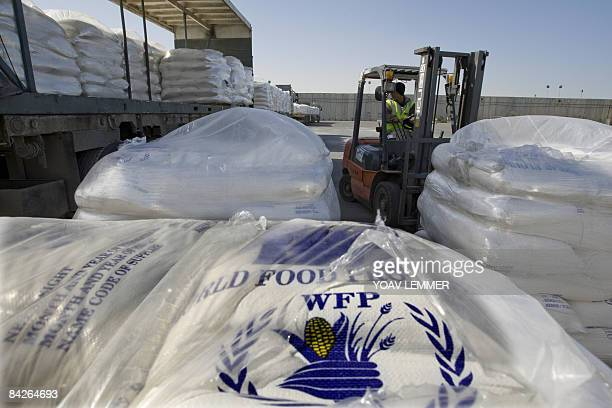 Humanitarian aid from the World Food Program to the Gaza Strip is unloaded at the Israeli side of the Rafah border crossing on January 13 2009...