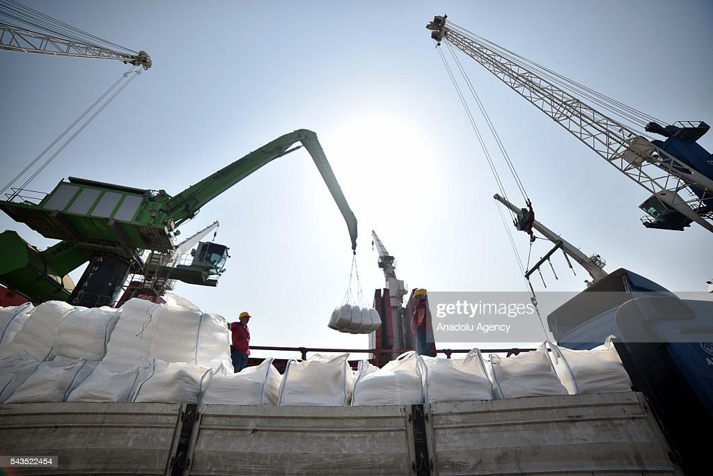 Humanitarian aid is loaded onto the cargo ship 'Lady Leyla', which is to transport humanitarian aid from Turkey to Gaza as part of the agreement reached between Turkey and Israel, by winch at Mersin International Port in Mersin, Turkey on June 29, 2016. Toys as Eid gifts for the Gazan children, plus 11,000 tons of food aid formed of flour, rice, sugar and food boxes brought by truck from collection centres as part of a joint AFAD (Disaster and Emergency Management Presidency of Turkey) and Red Crescent project have begun to be loaded onto the ship by winch. The aid ship will go directly to the city of Ashdod in Israel from Mersin International Port.