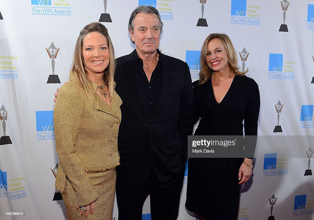Humanitarian Award Honoree Maria Arena Bell, actors <a gi-track='captionPersonalityLinkClicked' href=/galleries/search?phrase=Eric+Braeden&family=editorial&specificpeople=206325 ng-click='$event.stopPropagation()'>Eric Braeden</a>, and <a gi-track='captionPersonalityLinkClicked' href=/galleries/search?phrase=Genie+Francis&family=editorial&specificpeople=1065309 ng-click='$event.stopPropagation()'>Genie Francis</a> attend the 14th Annual Women's Image Network Awards at Paramount Theater on the Paramount Studios lot on December 12, 2012 in Hollywood, California.