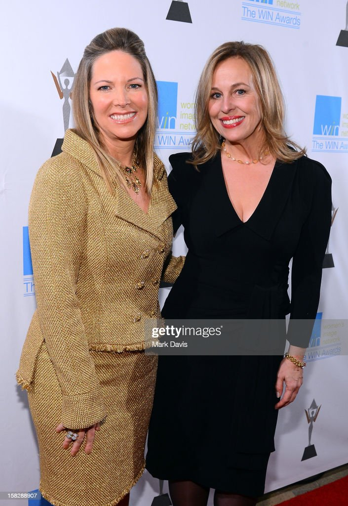 Humanitarian Award Honoree Maria Arena Bell and actress <a gi-track='captionPersonalityLinkClicked' href=/galleries/search?phrase=Genie+Francis&family=editorial&specificpeople=1065309 ng-click='$event.stopPropagation()'>Genie Francis</a> attends the 14th Annual Women's Image Network Awards at Paramount Theater on the Paramount Studios lot on December 12, 2012 in Hollywood, California.