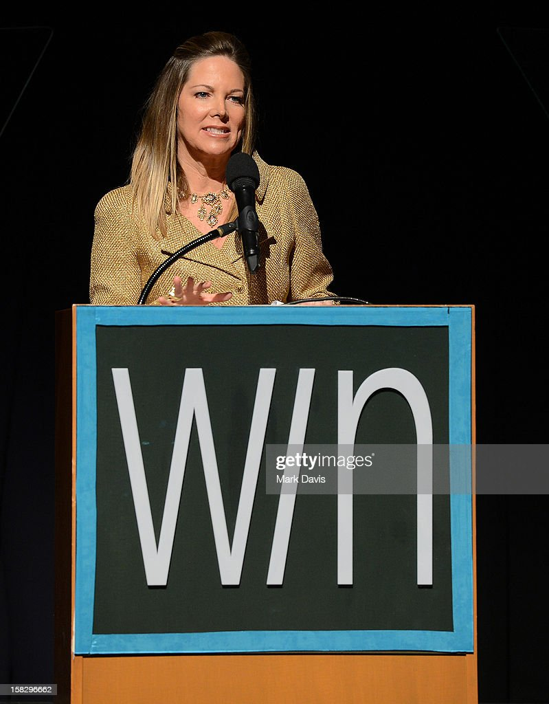 Humanitarian Award Honoree Maria Arena Bell speaks onstage during the 14th Annual Women's Image Network Awards at Paramount Theater on the Paramount Studios lot on December 12, 2012 in Hollywood, California.