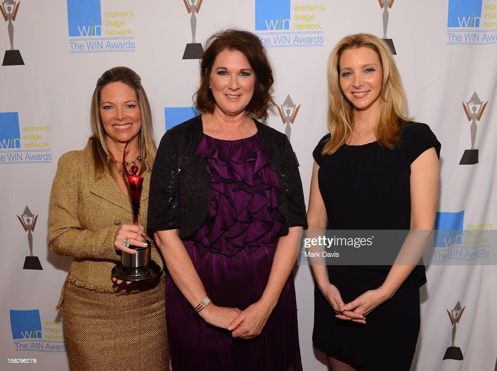 Humanitarian Award Honoree Maria Arena Bell, WIN Awards Founder Phyllis Stuart, and actress <a gi-track='captionPersonalityLinkClicked' href=/galleries/search?phrase=Lisa+Kudrow&family=editorial&specificpeople=202079 ng-click='$event.stopPropagation()'>Lisa Kudrow</a> attend the 14th Annual Women's Image Network Awards at Paramount Theater on the Paramount Studios lot on December 12, 2012 in Hollywood, California.