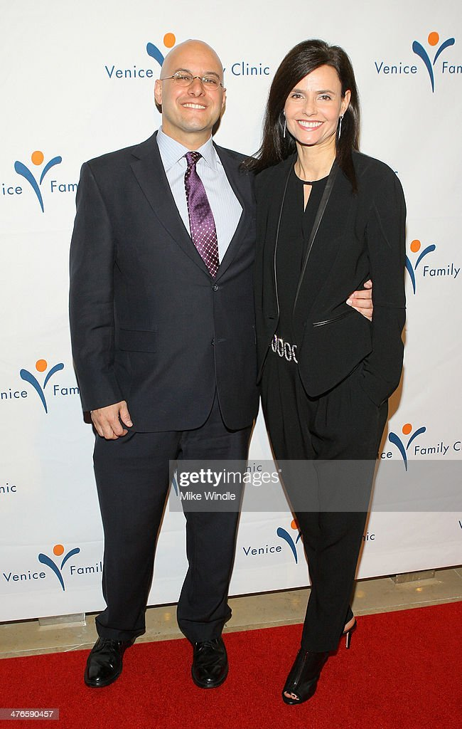 Humanitarian Award winner Chris Silbermann (L) and wife Julia Franz attends the Venice Family Clinic's 32nd Annual Silver Circle Gala held at The Beverly Hilton Hotel on March 3, 2014 in Beverly Hills, California.