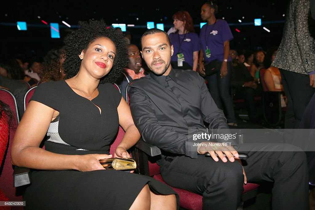Humanitarian Award winner <a gi-track='captionPersonalityLinkClicked' href=/galleries/search?phrase=Jesse+Williams+-+Actor&family=editorial&specificpeople=7189838 ng-click='$event.stopPropagation()'>Jesse Williams</a> (R) attends the 2016 BET Awards at the Microsoft Theater on June 26, 2016 in Los Angeles, California.