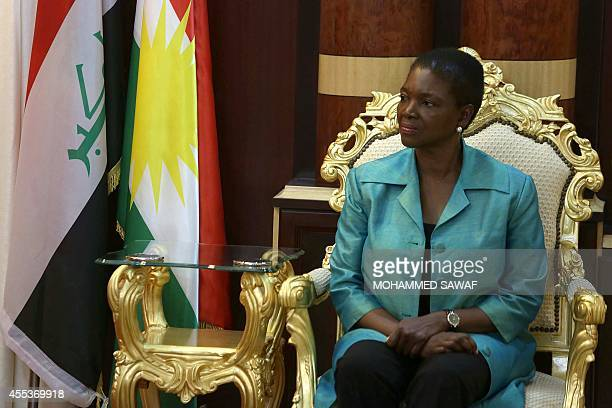 UN Humanitarian chief Valerie Amos meets with Fahrad Ameen Atrushi governor of the Dohuk province of Iraq's northern region of Kurdistan on September...