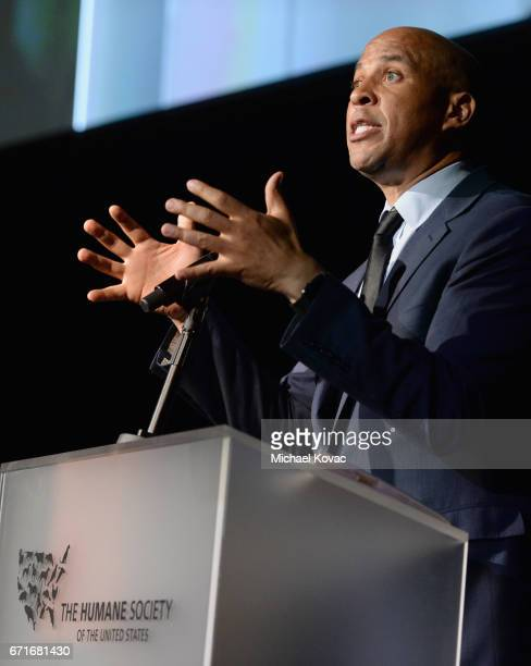 Humanitarian of the Year award winner Cory Booker speaks at The Humane Society of the United States' To the Rescue Los Angeles Gala at Paramount...