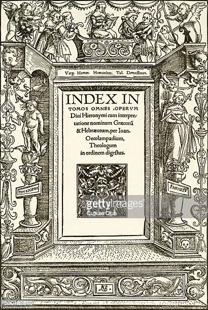 Humanitas titlepage woodcut by Urs Graf 1513 At the top a figure representing Humanitas sits in a small triumphal car flanked by putti with heraldic...