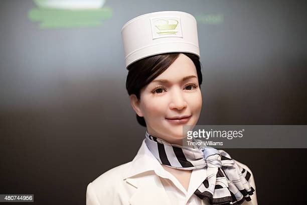 A humanoid robot replaces human staff at the check in counter at the Henna Hotel in Huis Ten Bosch Netherlands themed amusement park on July 15 2015...