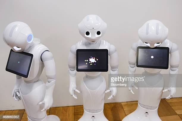 Humanoid robots named Pepper developed by SoftBank Corp's Aldebaran Robotics unit stand during a Softbank developer's workshop for students and robot...