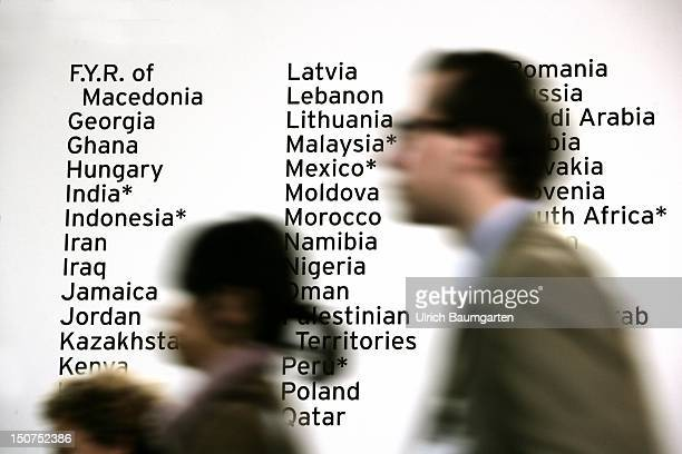 Humans in front of a board with names of different nations