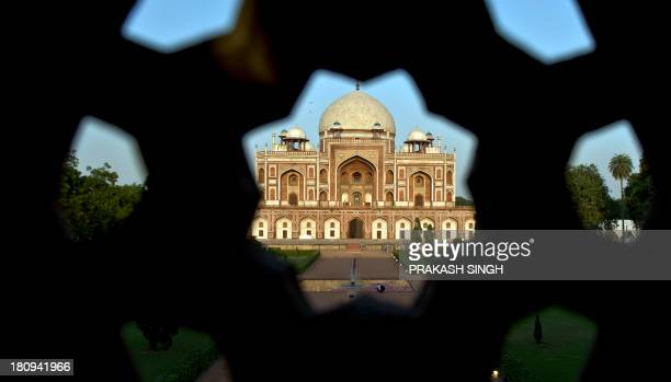 Humayun's Tomb is pictured prior to the inauguration ceremony in New Delhi on September 18 2013 One of New Delhi's most famous monuments a mausoleum...