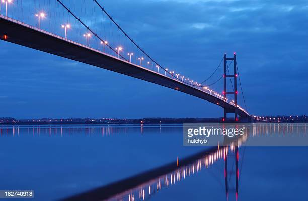 Humber bridge glowing at night