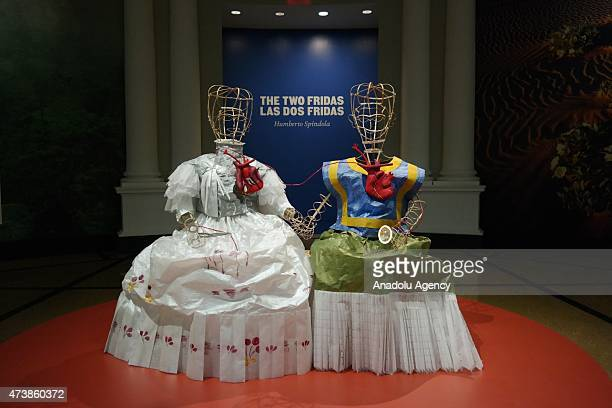 Humberto Spíndola recreated the dresses Kahlo wears in The Two Fridas out of tissue paper are on display during the New York's Botanical Garden's...