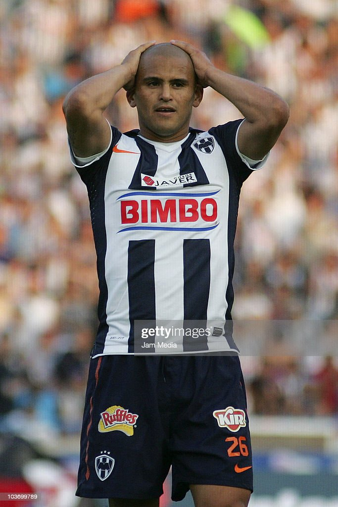 Humberto Suazo of Monterrey reacts during a match against Jaguares as part of the Apertura 2010 at Tecnologico Stadium on August 28, 2010 in Monterrey, Mexico.