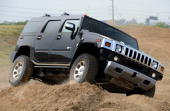 Hummer H2 sport utility vehicle is driven on a test track during a General Motors 2008 model year display at the GM Collection Event Wednesday Sept 5...