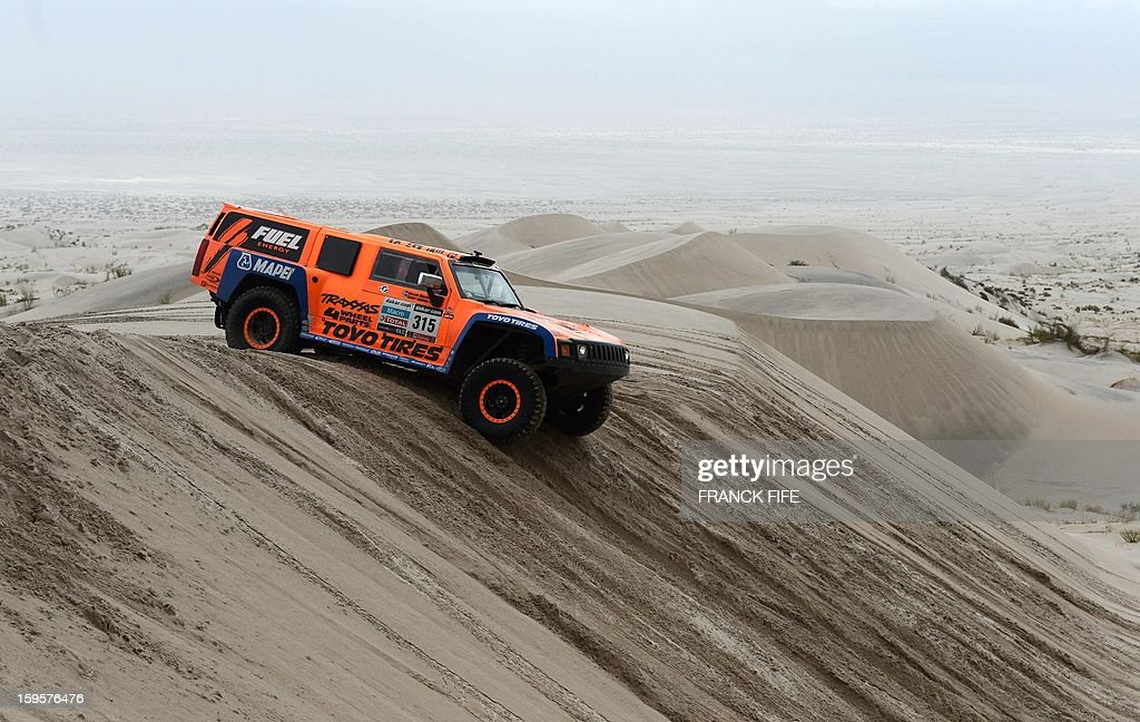 Hummer's US Robbie Gordon competes during the Stage 11 of the Dakar 2013 between La Rioja and Fiambala, Argentina, on January 16, 2013. The rally takes place in Peru, Argentina and Chile between January 5 and 20.