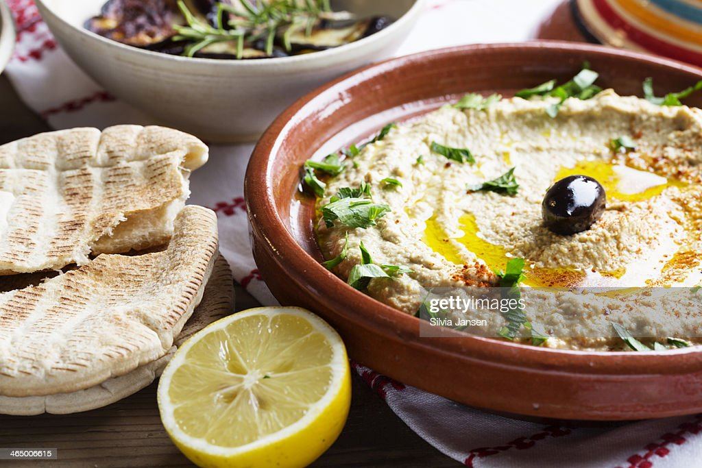 Hummus mediterranean style : Stock Photo