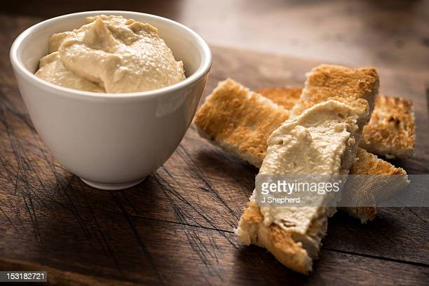 Hummus, or humous, with toasted bread