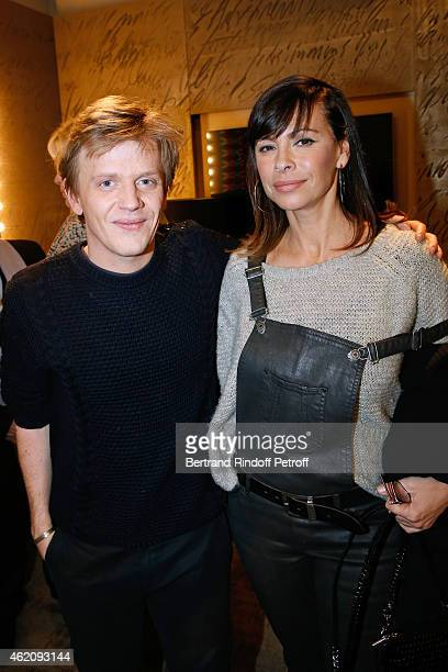 Humorist Alex Lutz and actress Mathilda May attend Alex Lutz in his One man Show at L'Olympia on January 24 2015 in Paris France