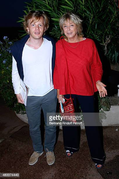 Humorist Alex Lutz and Director Daniele Thompson attend the 'La colere du Tigre' Theater play during the 31th Ramatuelle Festival Day 6 on August 6...