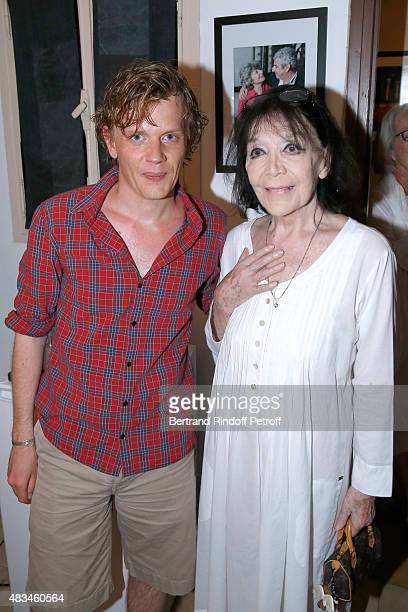 Humorist Alex Lutz and Singer Juliette Greco pose Backstage after the Alex Lutz Show during the 31th Ramatuelle Festival Day 8 on August 8 2015 in...