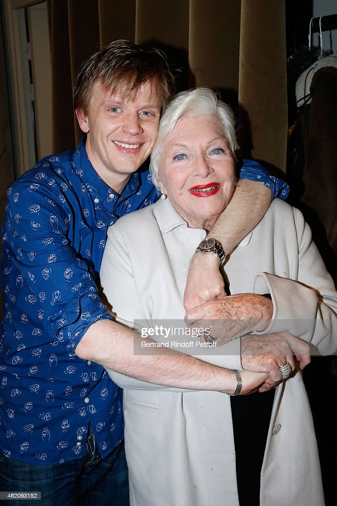 Humorist Alex Lutz and singer Line Renaud attend Alex Lutz in his One man Show at L'Olympia In Paris at L'Olympia on January 23 2015 in Paris France
